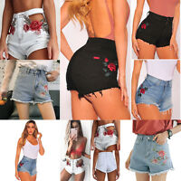 Vintage Embroidered Womens High Waist Ripped Shorts Jeans Denim Short Hot Pants