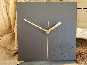 Welsh Dragon Slate Clock