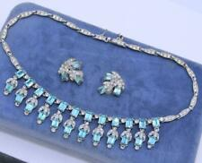 LOVELY VTG DECO SIGNED BOGOFF AQUA DIAMANTE GLASS NECKLACE EARRING SET! LOT D