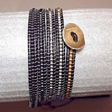 AUTHENTIC ChanLuu Mixed SEED BEADS on  Black Leather 5X Wrap Bracelet CL43B
