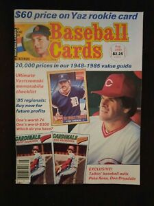 Baseball Cards Price Guide Aug 1985 w/ Pete Rose Cincinnati Reds on Cover