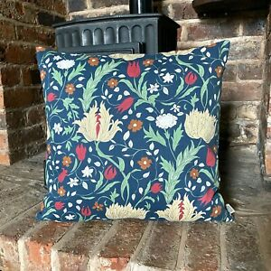 848. Handmade ELEANORE NAVY BLUE flowers 100% Cotton Cushion Cover Various sizes