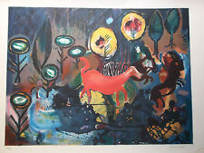 lithographie signee et numerotee dans un style evoquant Chagall