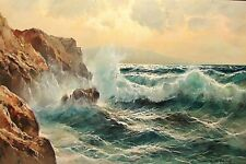 "Fine 36"" GUIDO ODIERNA (Italian 1913-1991) Oil Painting ""Crashing Waves"" c. 1970"
