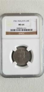 Malaya 20 Cents 1961 NGC MS 64