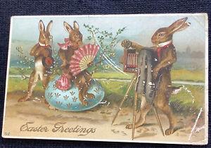 vintage Easter embossed Postcard Fantasy humanized Rabbits camera Flaws