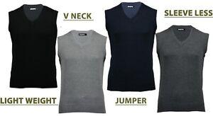 Mens V Neck Sleeveless Jumper Pullover Plain Tank Top Vest Light Weight S-XXL