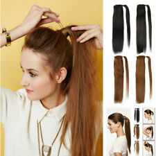 "US- 14""-20""Silky Straight Wrap Around Clip in Ponytail Human Hair Extension 80g"