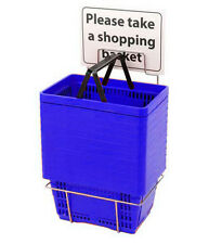 Lot of 12 Blue Shopping Basket Set with Stand 16 in. W x 11 1/2 in. D x 9 in. H