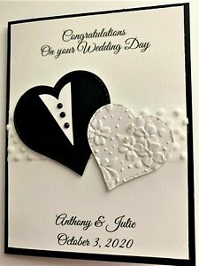 Personalized Black and White Wedding Card
