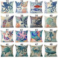 Ocean Style Sea Animals Cotton Linen Throw Pillow Case Cushion Cover Home Decor