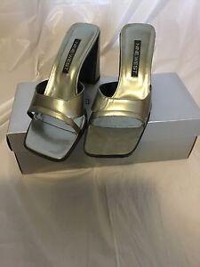 NINE WEST Belia Silver Gray Patent Sandals Mules Slip On Shoes Women's (7)
