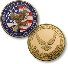 """Let's Roll"" Challenge Coin Operation Enduring Freedom OEF USAF Air Force Wings"