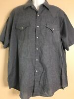 Plains Western Wear Men Size XL Gray Western Shirt Pearl Snap Checks