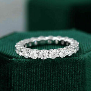 3mm Round Cut Moissanite Full Eternity Wedding Band Ring Solid 14K White Gold