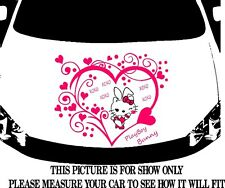 HELLO KITTY PLAY BOY W/ TRIBAL HEART DECAL VINYL GRAPHIC HOOD SIDE OF CAR