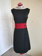 ANN TAYLOR Black Red Stretch DRESS Size 12 RETRO 50's Pin-Up Desk to Dinner