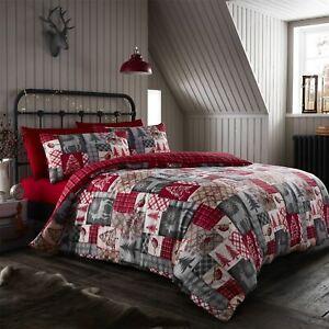HLC Christmas Patchwork Red Reversible Duvet Quilt Cover Bedding Set