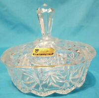 Vintage Beyer Crystal candy Dish With Lid West Germany Spire Handle Pristine Con