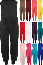 New Womens Ruched Strapless Bandeau Boobtube Ladies Harem Pants Jumpsuit 8-14