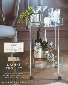 NEW Silver Drinks Trolley With Glass Shelves Mini Bar Cocktail Table Drink Table
