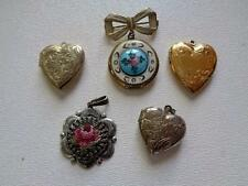 Vintage 5 Pc Gold Silver Tone Locket Lot Fabric Needle Point Rose Pendant