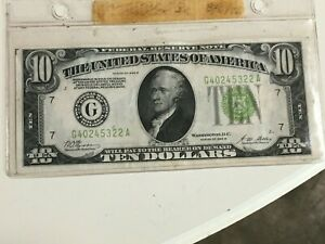 1928-B $10 DOLLAR BILL  FEDERAL RESERVE ~ GREEN SEAL ~ NICE ~ CIRCULATED~