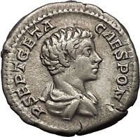 GETA as Caesar 203AD RARE Silver Ancient Roman Coin Good luck Felicitas i52285