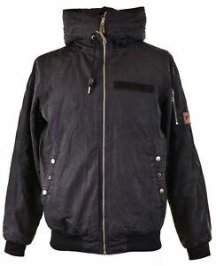 PULL & BEAR Mens Windbreaker Jacket Size 40 Large Black Polyester CV09