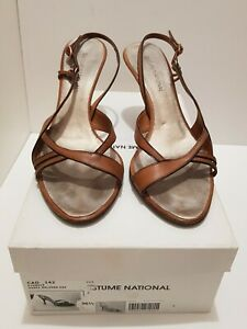Costume National Brown Leather Stappy Sandals, size 36.5