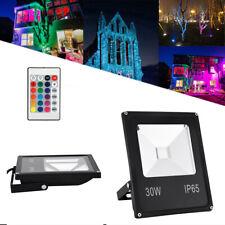 30W Floodlight LED Yard Garden Landscape Outdoor RGB Remote Color Changing IP65