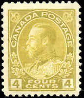 Mint H Canada 4c 1922 F+ Scott #110b King George V Admiral Issue Stamp