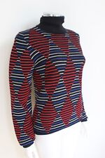 MSGM Ribbed Red Diamond Intarsia knit Stripe Jumper S