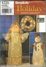 Simplicity Holiday Lighted Lawn Decorations Patterns Snowman, Angel #4335 Uncut