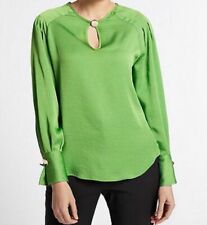 M&S Per Una Green Satin Round Neck Long Sleeve Blouse - Size 16 BNWT
