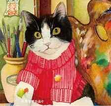 LOT 24PCS Postcard Illustration Cats Kitten Colorful Cards Set Bulk #46