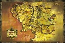 24x36 Lord of the Rings Gold Map of Middle Earth