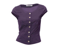 Heine Peplum Button Top Lace Up Back Purple BNWT Size UK 12