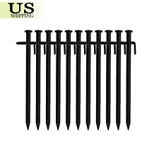 Pack 10 Heavy Duty Black Steel Metal Tent Canopy Camping Stakes Pegs Ground Nail