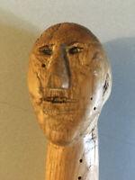 Canne Sculpté Serpent WW2 Art Populaire Bois Lièrre Art Brut Tranchée