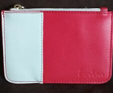 BODEN LEATHER ZIP UP COIN PURSE - CREAM & ORANGE - NEW WITOUT TAGS
