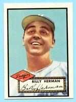 1952 Topps Baseball Reprint # 394 Billy Herman- Brooklyn Dodgers