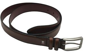 "Tommy Hilfiger mens 38 belt leather brown casual 1"" width silvertone hardware"