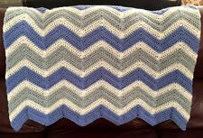 CROCHET blanket afghan couch throw baby chevron ripple handmade blue 42 x 46 boy