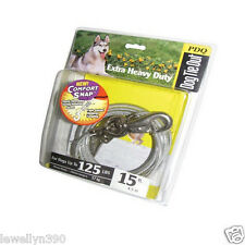PDQ 15' Cable Tie Out w/ Swivel Leash Hook Dogs up to 125lbs