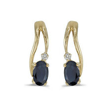 14k Yellow Gold Oval Sapphire And Diamond Wave Earrings
