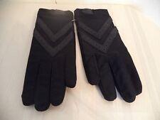 Women's Black Hand Gloves. 80% Nylon/ 20% Lycra. Genuine Leather. One Size.
