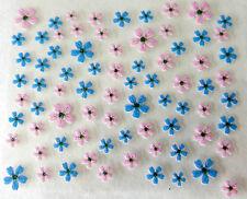 Accessoire ongles: nail art - Stickers autocollants - fleurs roses et bleues
