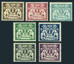 Danzig 127-135,hinged.Michel 151-157. Coat of Arms,1923.Lions.