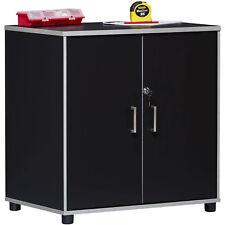 Garage Storage Cabinet 2 Door Wooden Organizer Utility Tool Box Black Finish New